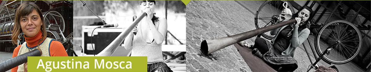 Trois photos d'Agustina Mosca jouant son didgeridoo dans les rues de Paris.