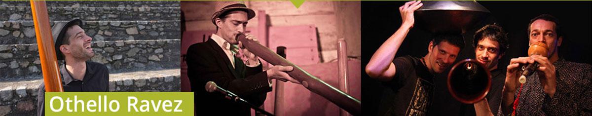 Trois photos d'Othello Ravez jouant du didgeridoo en solo et avec son groupe Oloji